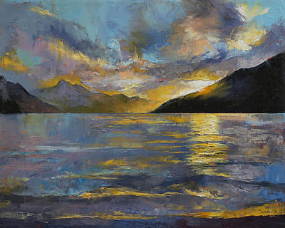 Abstract Seascape Painting - New Zealand Sunset by Michael Creese
