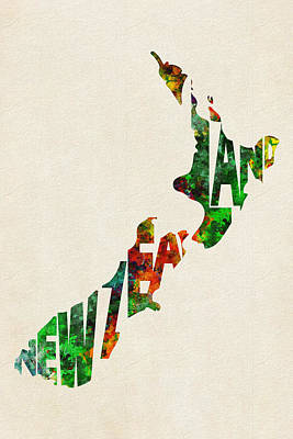 New Zealand Typographic Watercolor Map Print by Ayse Deniz