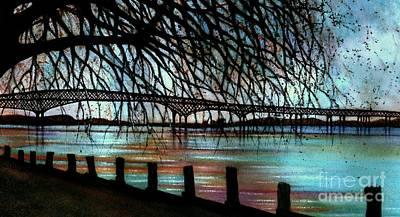 Newburgh - Beacon Bridge Night Sky Print by Janine Riley