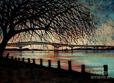 River View Painting - Newburgh Beacon Bridge Sunset by Janine Riley