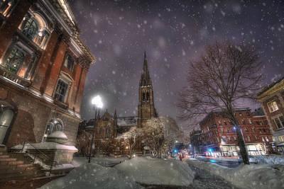 Winter On Newbury Street - Boston Print by Joann Vitali