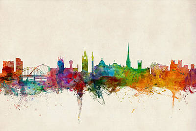Silhouette Digital Art - Newcastle England Skyline by Michael Tompsett