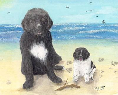 Newfie Painting - Newfoundland Dog Landseer Puppy Beach Cathy Peek Animal Art by Cathy Peek