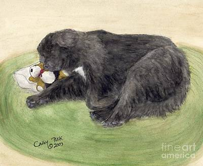 Newfie Painting - Newfoundland Dog Naptime Cathy Peek Animal Pets Art by Cathy Peek