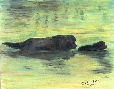 Newfie Painting - Newfoundland Dog Puppy Swim Cathy Peek Animal Art by Cathy Peek