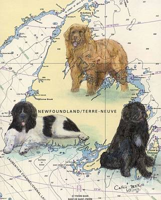 Newfie Painting - Newfoundland Dog Trio Chart Map Art Cathy Peek by Cathy Peek