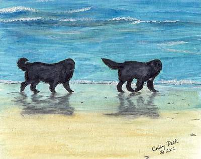 Newfie Painting - Newfoundland Dogs Beach Walk Cathy Peek Art by Cathy Peek