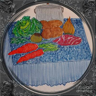 Cabbage Drawing - Newfoundland Jiggs Dinner - Porthole Vignette by Barbara Griffin