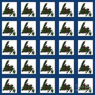 Newfoundland Tartan Map Blocks Blue Trim Print by Barbara Griffin