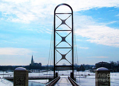 Newly Popular Footbridge In Wintertime Print by Tina M Wenger