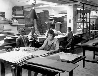 Chico Photograph - Newpaper Printing Office by Underwood Archives