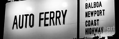 Newport Beach Balboa Ferry Sign Photo Print by Paul Velgos