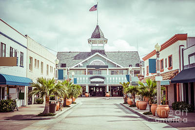 Newport Beach Balboa Main Street Vintage Picture Print by Paul Velgos
