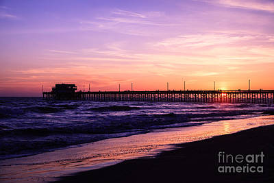 Newport Beach Pier Sunset In Orange County California Print by Paul Velgos