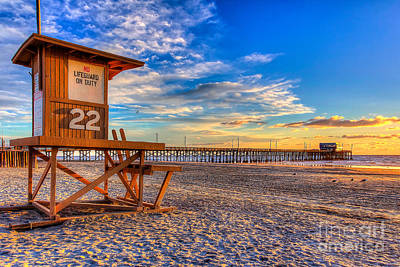 Newport Beach Pier - Wintertime  Print by Jim Carrell