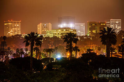 Newport Beach Skyline At Night Print by Paul Velgos