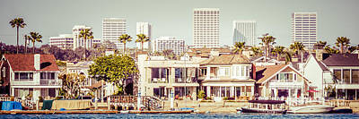 Upscale Photograph - Newport Beach Skyline Vintage Panorama by Paul Velgos