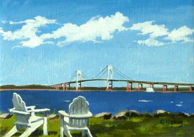 Sand Castles Painting - Newport Bridge Newport Rhode Island by Christine Hopkins