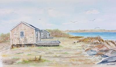 Newport Fishing Shacks Print by Michael McGrath