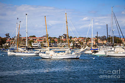 Newport Harbor Boats In Orange County California Print by Paul Velgos