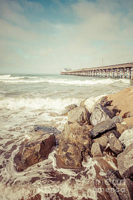 Newport Pier Rocks Retro Photo Print by Paul Velgos