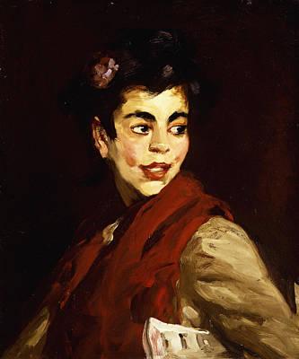 Shouting Painting - Newsgirl In Madrid by Robert Henri