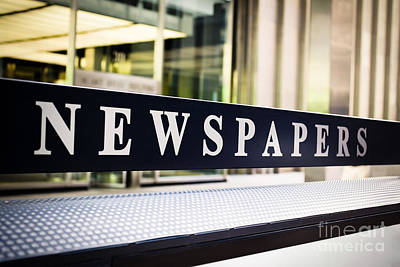 Newspapers Stand Sign In Chicago Print by Paul Velgos