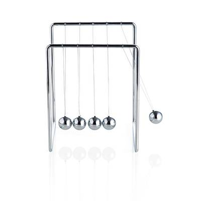 Kinetic Photograph - Newton's Cradle Toy by Science Photo Library