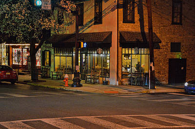 Starbucks Coffee Photograph - Newtown Nighthawks by William Jobes