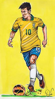 Barcelona Drawing - Neymar by Dave Olsen