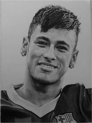 Messi Drawing - Neymar Jr by Tom Bennett