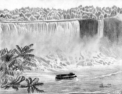 Loud Drawing - Niagara Falls And The Maid Of The Mist by Kayleigh Semeniuk