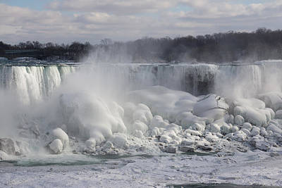 Niagara Falls Awesome Ice Buildup - American Falls New York State Usa Print by Georgia Mizuleva