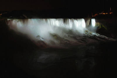 Niagara Falls By Night Print by Ayse Deniz