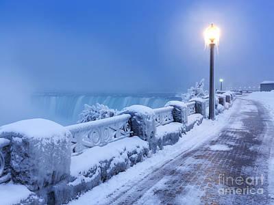 Niagara Falls City Wintertime Scenery Print by Oleksiy Maksymenko