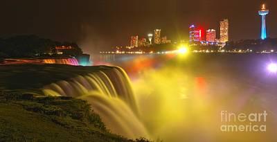 Niagara Falls In Yellow Print by Adam Jewell
