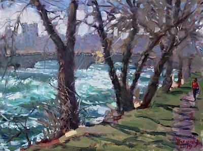 Fall Painting - Niagara Falls River April 2014 by Ylli Haruni