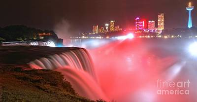 Niagara Lights At Prospect Point Print by Adam Jewell