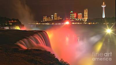 Niagara Starbursts At Night Panorama Print by Adam Jewell