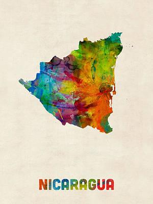Latin Digital Art - Nicaragua Watercolor Map by Michael Tompsett