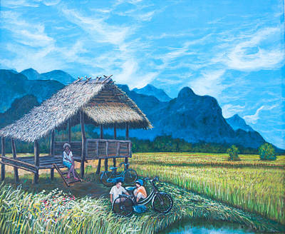 Water Filter Painting - Nice Day In Golden Field by Kantawan Sukaum