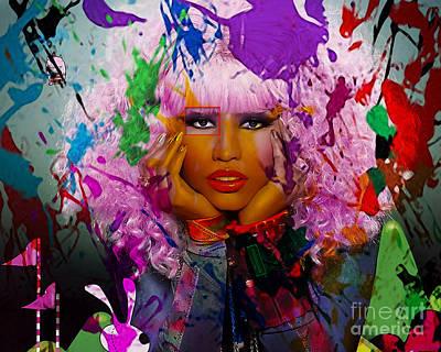 Young Money Mixed Media - Nicki Minaj Painting by Marvin Blaine