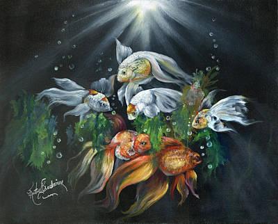 Orange Painting - Nicks Aquarium by Kathy Brecheisen