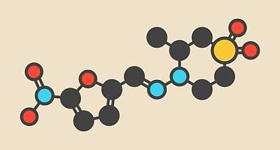 Nifurtimox Antiparasitic Drug Molecule Print by Molekuul
