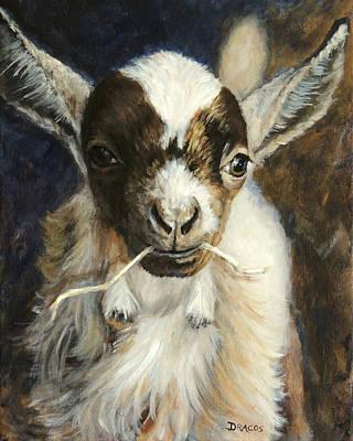 Goat Painting - Nigerian Dwarf Goat With Straw by Dottie Dracos
