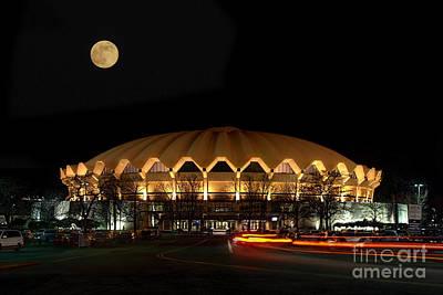 night and moon WVU basketball arena Print by Dan Friend