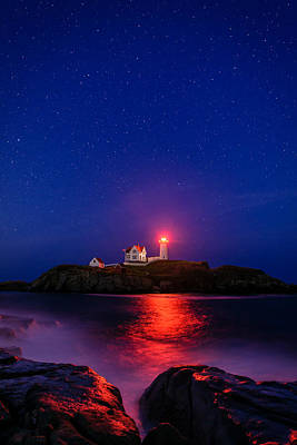 Night At Nubble Light Print by Michael Blanchette