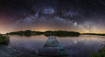 Milky Digital Art - Night At The Lake  by Aaron J Groen