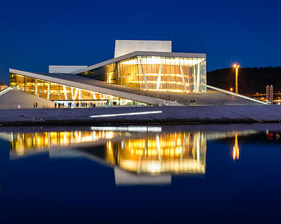 Night At The Oslo Opera House Print by Michael Blanchette