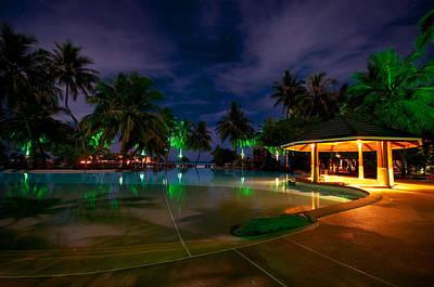 Night At Tropical Resort 1 Print by Jenny Rainbow